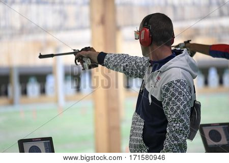 Rio Brazil - august 10 2016: KOPP Pavol (SVK) during shooting 50m Pistol Men Shooting at Olympic Games 2016 in Olympic Shooting Centre Deodoro