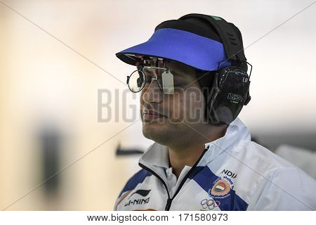 Rio Brazil - august 10 2016: NANJAPPA Prakash (IND) during shooting 50m Pistol Men Shooting at Olympic Games 2016 in Olympic Shooting Centre Deodoro