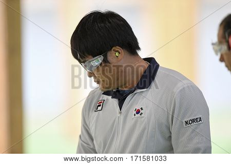 Rio Brazil - august 10 2016: HAN Seungwoo (KOR) during shooting 50m Pistol Men Shooting at Olympic Games 2016 in Olympic Shooting Centre Deodoro