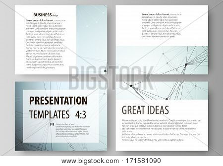 Set of business templates for presentation slides. Easy editable abstract vector layouts in flat design. Chemistry pattern, connecting lines and dots, molecule structure, scientific medical DNA research.