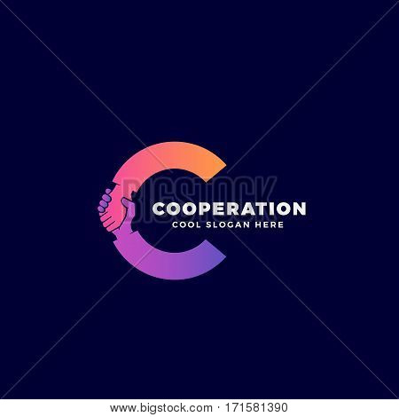 Cooperation Abstract Vector Sign, Symbol or Logo Template. Hand Shake Incorporated in Letter C Concept. On Dark Background.