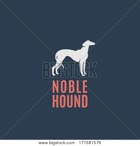 Noble Hound Abstract Vector Sign, Emblem or Logo Template. Greyhound Dog Silhouette on Dark Background.