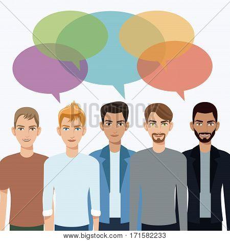 group men communication dialog bubble speech vector illustration eps 10