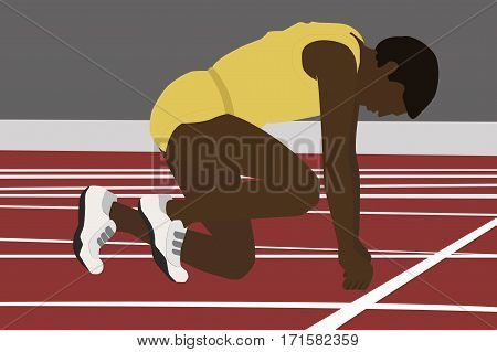 Athlete on the starting blocks. Running man on low start. Motivation concept. Flat vector stock illustration.