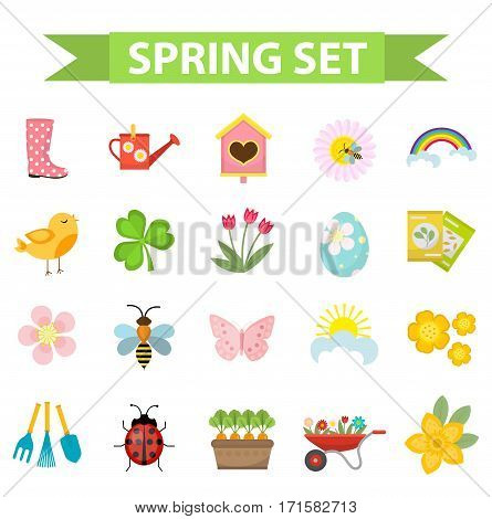 Spring icons set, flat style. Gardening cute collection of design elements, isolated on white background. Nature clip art. Vector illustration