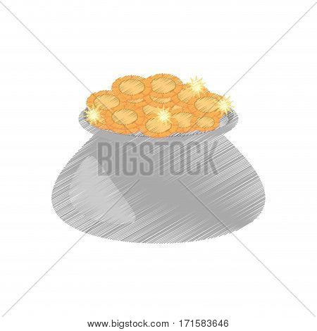 drawing cauldron gold coin st patricks day vector illustration eps 10