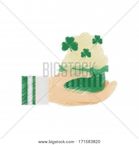drawing hand holding beer foam clover st patricks day vector illustration eps 10