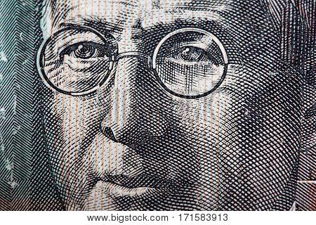 Portrait Of Reverend John Flynn - Australian 20 Dollar Bill Closeup.