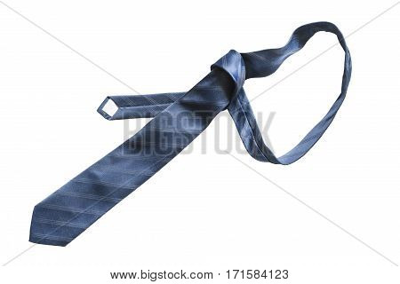Elegant blue silk necktie on white background
