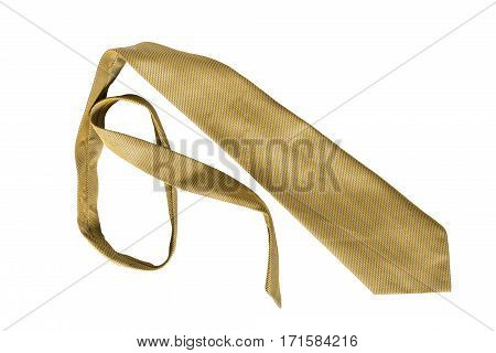 Crumpled yellow necktie isolated over white background