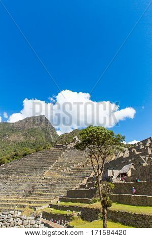 MACHU PICCHU CUZCO,PERU - AUGUST 21 2013: Misterious city in South America. The Incan ruins and terrace. Example of polygonal masonry and skill in Machu picchu.