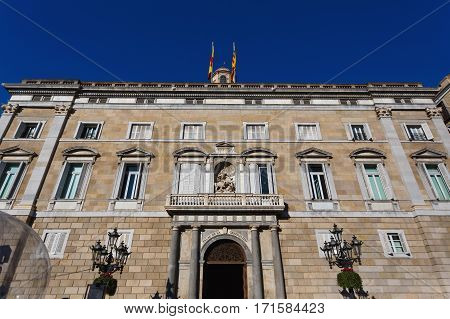 Barcelona Spain - January 08 2017: Palace of the Generalitat of Catalunya located at the Plaza de Sant Jaume in the Gothic Quarter