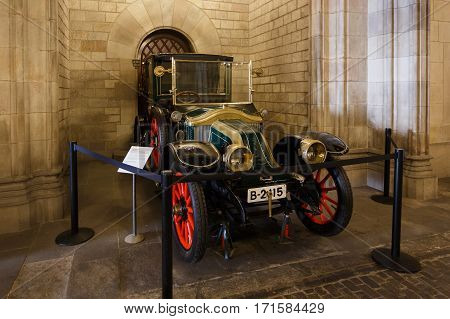 Barcelona Spain - January 08 2017: The old car in the public section of the city hall that is opened for people visiting every Sunday