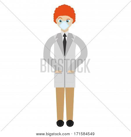 doctor with mask coat clinic vector illustration eps 10