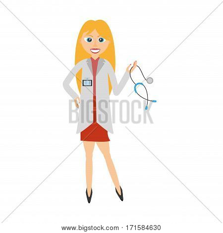 blonde doctor woman holding stethoscope vector illustration eps 10