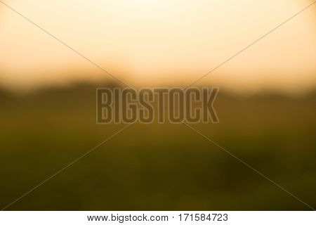 landscape fields and sky in evening time abstract blur background