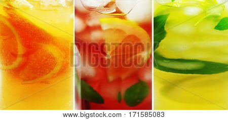 orange fruit punch cocktail drink with lemon and ice food collage