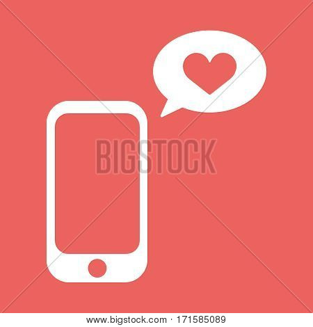 Cellphone with with talk bubble and heart shape. Flat vector illustration. Love messageb icon. EPS10