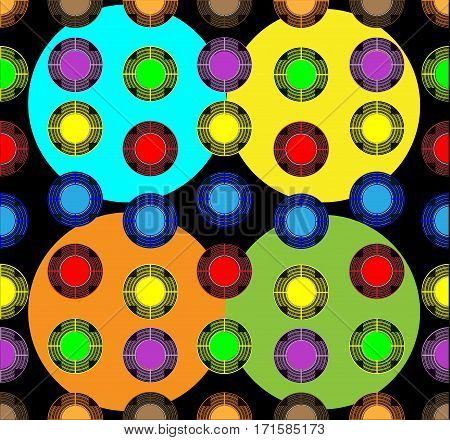 colored balls of various sizes on a dark background