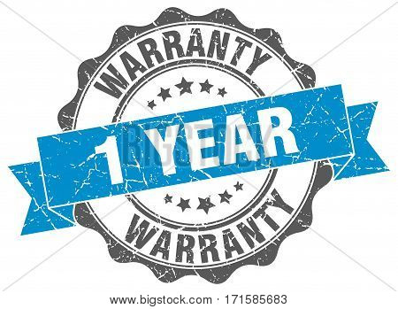 1 year warranty. stamp. sign. seal. round. retro. ribbon