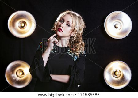 Woman Model Beautiful And Fashionable On Wall Background With Lighting