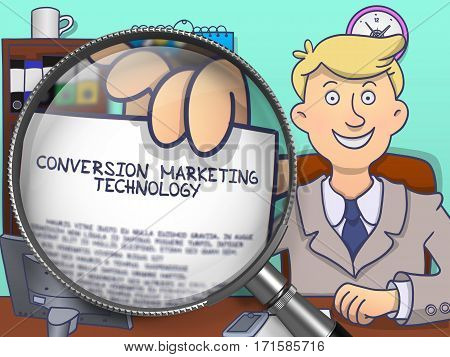 Businessman in Office Workplace Showing a Paper with Concept Conversion Marketing Technology. Closeup View through Magnifying Glass. Multicolor Doodle Illustration.
