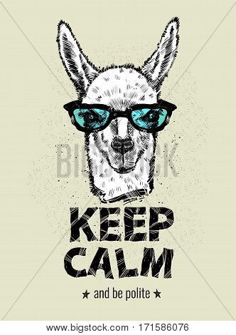 Drawing the head Lama with glasses, guanaco and letters. Keep calm and be polite, vector illustration EPS10