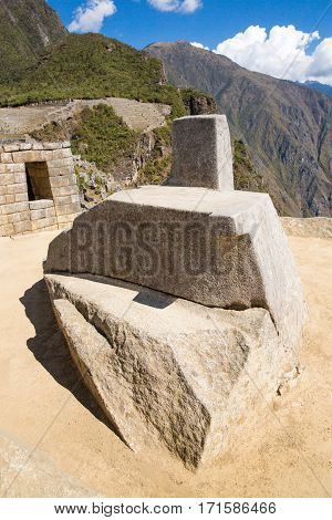 MACHU PICCHU CUZCOPERU - AUGUST 21 2013: Misterious city in South America. The Incan ruins and terrace. Example of polygonal masonry and skill in Machu picchu.,