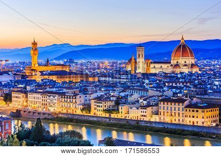 Florence Italy. View of Florence after sunset from Piazzale Michelangelo