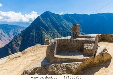 MACHU PICCHU CUZCOPERU - AUGUST 21 2013: Misterious city in South America. The Incan ruins and terrace. Example of polygonal masonry and skill in Machu picchu.