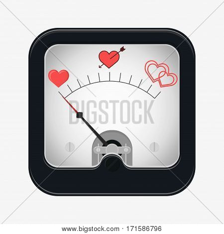 Measuring scale concept. Love metr. Flat vector stocl illustration
