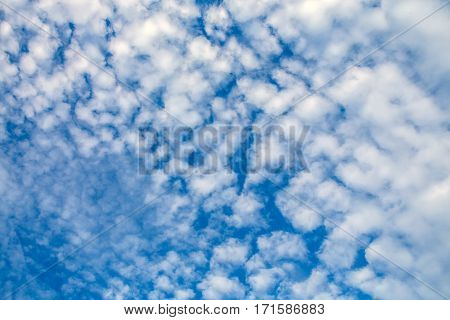Fancy shapes of flying clouds in the blue sky. Heavenly background in a highly patterned top. Free space atmospheric flight and freedom.