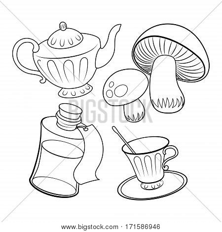 Objects from fairy tale coloring book vector illustration. Alice wonderland. Black and white lines. Lace pattern