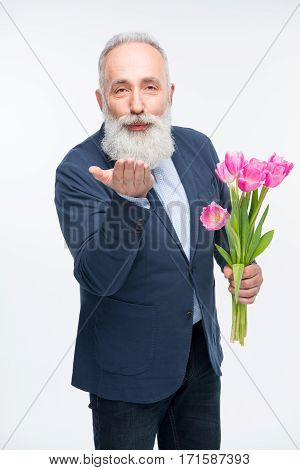 Senior Man With Tulips