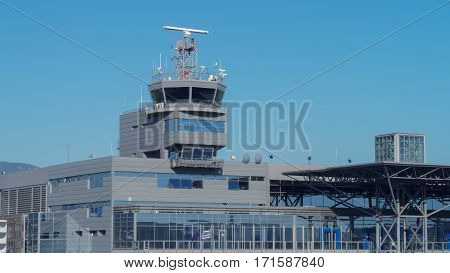 Thessaloniki, Greece - September 23 2016: Thessaloniki SKG airport control tower. Thessaloniki International Airport Macedonia is the third largest airport in Greece.