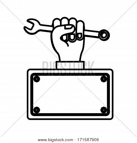 wrench in the hand icon stock, vector illustration design