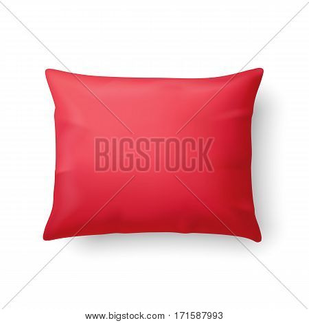 Close Up of a Classic Red Pillow Isolated on White Background