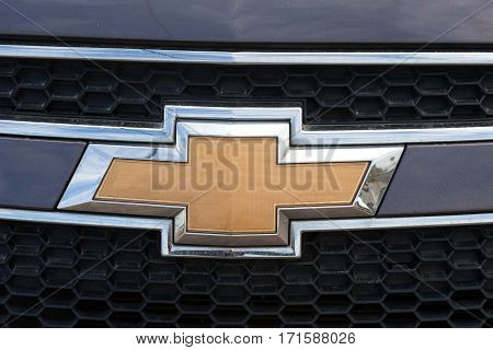 Tel Aviv, Israel - February 13, 2017: Chevrolet logo and a car's front grill.  Chevrolet is an American automobile division of the American manufacturer General Motors