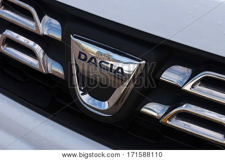Tel Aviv, Israel - February 13, 2017: Dacia logo on a car's front grill. Dacia is a Romanian car manufacturer, founded in 1966, and has been a subsidiary of the French car manufacturer Renault.