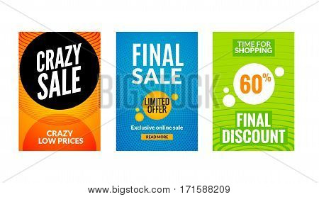 Sale flyers set with discount offer. Season best price poster template. Market banners shopping big discounts.