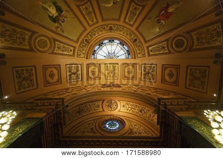 Barcelona Spain - January 08 2017: The dome of the room in a public section of city hall that is opened for people visiting every Sunday