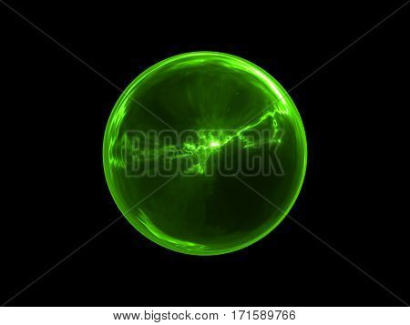 Abstract Glowing Green Sphere Energy on Black Background