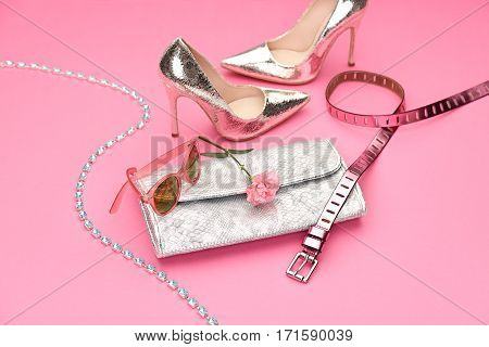 Fashion. Clothes Design, Accessories fashion Set. Luxury Outfit. Stylish woman Handbag clutch Glamor Trendy Heels, Flower. Summer fashion Concept.Luxury Party Essentials, Fashion shoes. Art Minimal