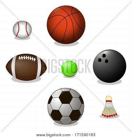Vector illustration of logo for ball game basketball football bowling baseball tennis badminton