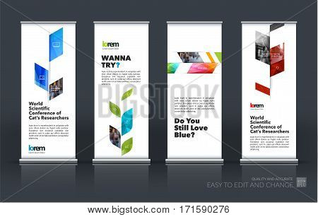 Business vector set of modern roll Up Banner stand design template with colourful abstract plant for business, industry, eco for exhibition, show, exposition, expo, presentation, parade, events.