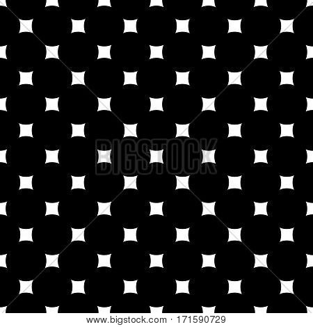 Vector monochrome seamless pattern. Simple dark minimalist geometric texture with rounded squares & rhombuses. Abstract endless black & white background. Stylish design for prints, decor, textile, web