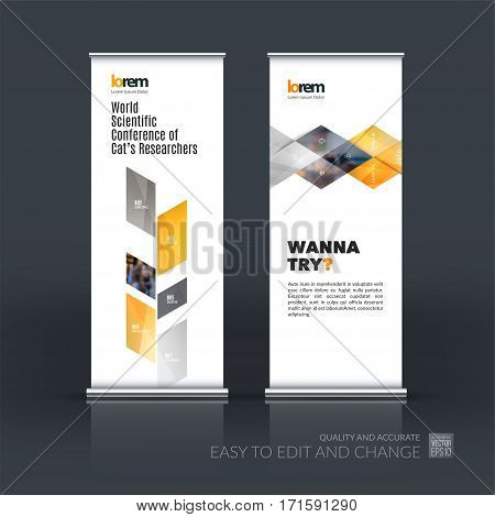 Business vector set of modern roll Up Banner stand design template with yellow abstract plant for business, industry, eco for exhibition, show, exposition, expo, presentation, parade, events.