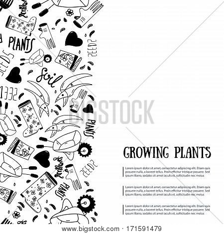 gardening banner with lettering and equipment. Growing plants promotion Perfect for wrapping, clothes