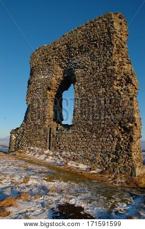 Remains of Dunnideer Castle in Insch, Scotland