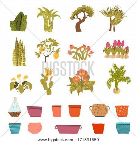 Set of green house plants with pots with Leaf and flowers in cartoon style. Flowerpot isolated objects for creation unique houseplants collection